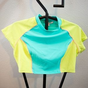 Victoria's Secret Swim Color Block Crop Top Large